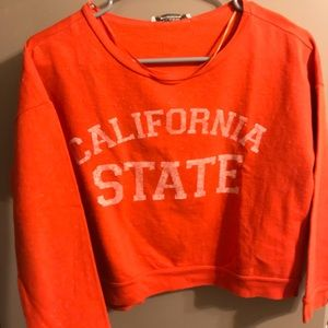 California state orange-red cropped sweater